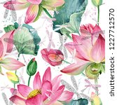 Stock photo pink lotus flowers seamless background watercolor botanical pattern dragonfly illustration 1227712570