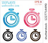 stopwatch watercolor icon set.... | Shutterstock .eps vector #1227714490
