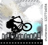 silhouette of bicycle jumper | Shutterstock .eps vector #1227716056
