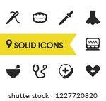 medicine icons set with teeth ...