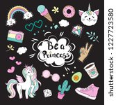 fashion patch badges with girl... | Shutterstock .eps vector #1227723580