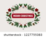 christmas postcard with vintage ... | Shutterstock .eps vector #1227755383