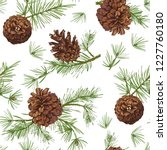 seamless pattern with color fir ... | Shutterstock .eps vector #1227760180
