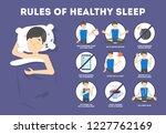 rules of healthy sleep. bedtime ... | Shutterstock .eps vector #1227762169