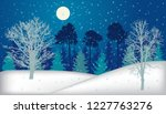 night forest  trees  in winter...   Shutterstock .eps vector #1227763276