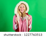 girl cheerful blonde warming up ... | Shutterstock . vector #1227763513