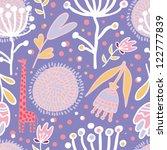 flowers and giraffes seamless...   Shutterstock .eps vector #122777839