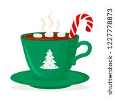 hot chocolate cup with... | Shutterstock .eps vector #1227778873