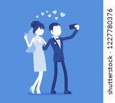 newlywed taking selfie by phone.... | Shutterstock .eps vector #1227780376