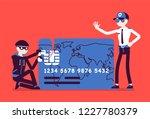 credit card hacking. masked man ... | Shutterstock .eps vector #1227780379