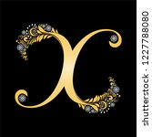 gold letter x isolated on black.... | Shutterstock . vector #1227788080