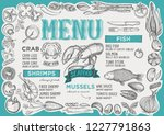 seafood menu template for... | Shutterstock .eps vector #1227791863