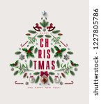 chick christmas postcard with... | Shutterstock .eps vector #1227805786
