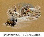 watercolor winter landscape... | Shutterstock . vector #1227828886