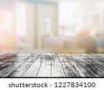 closeup top wood table with...   Shutterstock . vector #1227834100