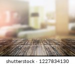 closeup top wood table with...   Shutterstock . vector #1227834130