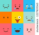 colorful square emojis set... | Shutterstock .eps vector #1227835363
