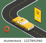 yellow isometric taxi cab... | Shutterstock . vector #1227841960