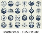 vintage nautical labels... | Shutterstock .eps vector #1227845080