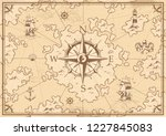 vintage monochrome treasure map ... | Shutterstock .eps vector #1227845083