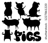 set of pigs on a white... | Shutterstock .eps vector #1227861220