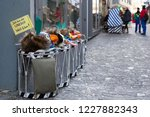 Small photo of Basel carnival. Weisse Gasse, Basel, Switzerland - February 21st, 2018. Close-up of snare drums and carnival masks in a small side street