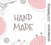 handmade or knitting background ... | Shutterstock .eps vector #1227890416