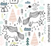 cute seamless unicorn pattern... | Shutterstock .eps vector #1227891079