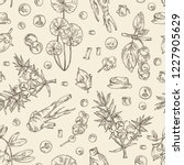 seamless pattern with perfumery ... | Shutterstock .eps vector #1227905629