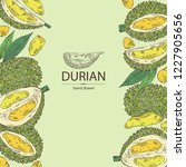background with durian  fruit... | Shutterstock .eps vector #1227905656