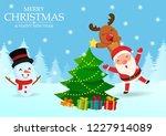 santa and reindeer help... | Shutterstock .eps vector #1227914089