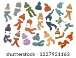 set of different knit hats caps ...   Shutterstock .eps vector #1227921163