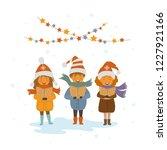 group of kids singing christmas ...   Shutterstock .eps vector #1227921166