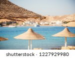 a row of straw umbrellas to... | Shutterstock . vector #1227929980