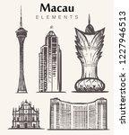 set of hand drawn macau...   Shutterstock .eps vector #1227946513