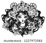 girl portrait  decorative crown ... | Shutterstock .eps vector #1227972583