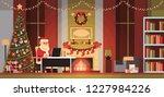santa claus in living room... | Shutterstock .eps vector #1227984226