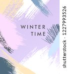 trendy winter poster with hand... | Shutterstock .eps vector #1227993526