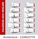 simple 2019 calendar. paper... | Shutterstock . vector #1228022770