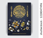 design template with xmas hand... | Shutterstock .eps vector #1228047496