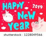 cute cartoon piggy flying... | Shutterstock .eps vector #1228049566