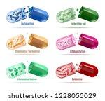 set of colored probiotics pills ... | Shutterstock .eps vector #1228055029