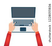 hands typing on a laptop. | Shutterstock .eps vector #1228055836