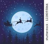santa claus flies on deer... | Shutterstock .eps vector #1228055866