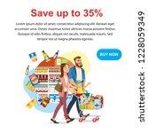 saving money offer on shop sale ...   Shutterstock .eps vector #1228059349