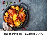 roasted chicken legs with root... | Shutterstock . vector #1228059790