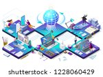 sending messages. email inbox ... | Shutterstock .eps vector #1228060429