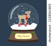 christmas snow globe with moose ... | Shutterstock . vector #1228061803