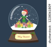 christmas snow globe with elf... | Shutterstock . vector #1228061809