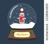 christmas snow globe with cat... | Shutterstock . vector #1228061833